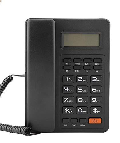 DAUERHAFT Teléfono Fijo Pantalla Grande Línea telefónica Fuente de alimentación Pantalla de identificación de Llamadas Remarcación del teléfono, visualización de la Fecha y la Semana en Tiempo Real