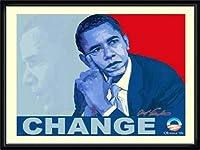ポスター アームストロング Barack Obama change 額装品 ウッドハイグレードフレーム(ブラック)