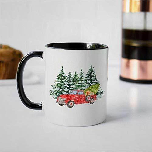 Taza de café vintage con camión rojo y árbol de Navidad, taza de cerámica, regalo de cumpleaños para hombres y mujeres