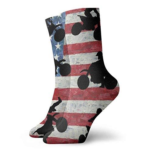 Bandera americana y motocicleta Calcetines cortos para adultos Algodón Gimnasio Clásico Deporte de ocio Calcetines cortos Adecuado para hombres Mujeres Calcetines deportivos Calcetines cómodos transpi