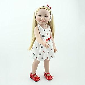 Reborn Baby Doll Simulación Vinilo De Silicona Realista Realista Princesa Pelo Largo Rubio 18 Pulgadas 48cm Juguete Realista Niños Cumpleaños Gift