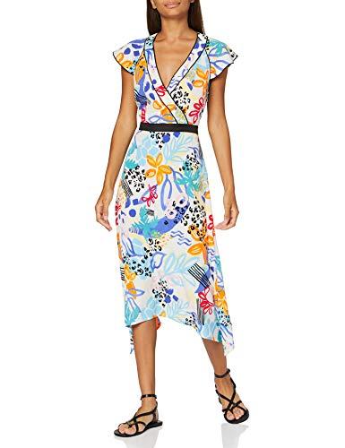 find. MDR40657 Robes d'été, Multicolore (Impression rétro Tropicale), 36