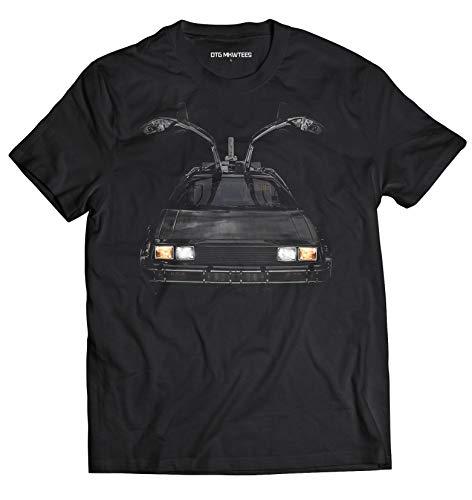 DTG Printing Delorean DMC-12 Retour vers Le Futur T-Shirt Idée Cadeau 100% Coton, Medium, Noir