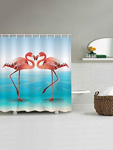 Gutgojo Anti-Schimmel Duschvorhang 180cm x200cm Waschbarer Textil Badvorhang Flamingo Digitaldruck inkl. 12 Duschvorhangringe für Badezimmer (Typ 5)