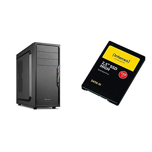 Sharkoon VS4-V PC-Gehäuse (2x USB 3.0, ATX) schwarz & Intenso High Performance interne SSD 120GB (6,3 cm (2,5 Zoll), SATA III, 520 MB/Sekunden) schwarz
