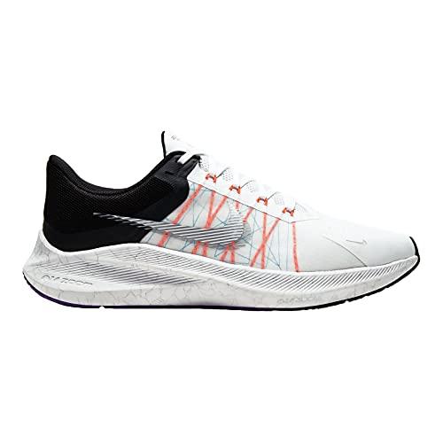 Nike Men's Zoom Winflo 8 White/Metallic Silver-Black Running Shoe Kids UK (CW3419-101)