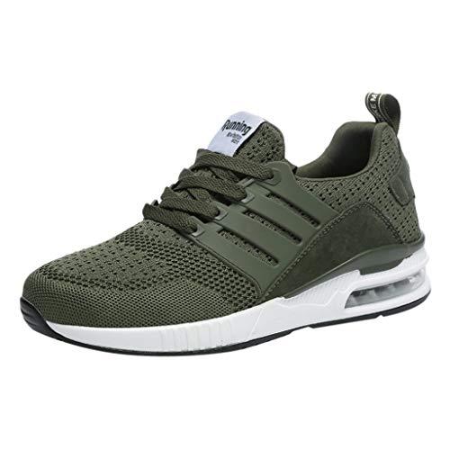 Sneakers für Herren/Skxinn Unisex Laufschuhe Straßenlaufschuhe Casual Sportschuhe Leichte Trainingsschuhe Turnschuhe rutschfeste Atmungsaktiv Mode Freizeitschuhe 36-44 EU Reduziert(Grün,42 EU)
