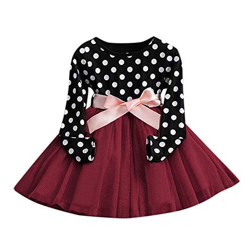 JERFER Kleinkind Kinder Baby Mädchen Polka Punkt Drucken Patchwork Tüll Kleid Prinzessin Outfits A76