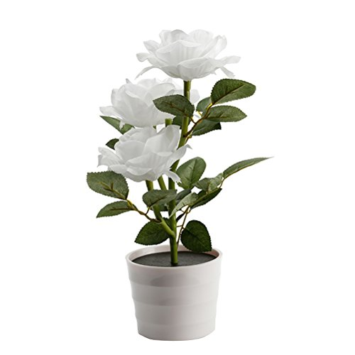 LEDMOMO Pot de fleur solaire LED lumière Lampe de table de fleur de rose 3 lumières Fleur LED Lampe de bureau flexible de fleurs pour la décoration de la maison de jardin (blanc)