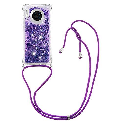 Schutzhülle für Huawei Mate 30 (lila), glitzernd, TPU-Gel, Silikon, stoßfest, mit Umhängeband