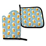 Oven Mitts and Pot Holders Set,Summer Ice Beer Funny Washable Heat Resistant Kitchen Non-Slip Grip Oven Gloves for Microwave BBQ Cooking Baking Grilling