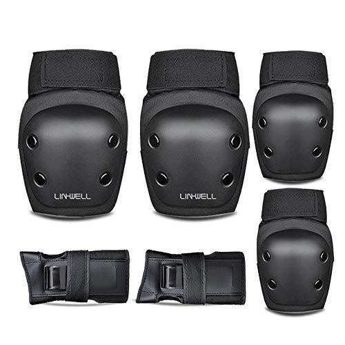 スケートボード プロテクター 6点セット 手首 肘 膝ガードスケートボード用パッド 子供用と大人用 保護 収納袋付き (Mサイズ…150CM〜175CM(LADYS〜MENS))