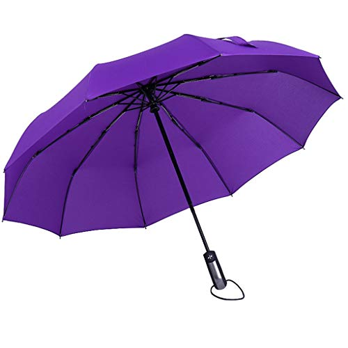 CapsA Compact Travel Umbrella - UV Sun Umbrella Compact Folding Travel Umbrella Auto Open and Close Windproof Reinforced Canopy Ergonomic Handle Auto Open Close Umbrella (Purple)
