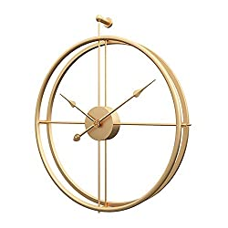 Modern Wall Clock - Metal Large Wall Clock Battery Operated Round Wall Clock, Modern Home Decor Ideal for Living Room, Kitchen, Office (Gold, 24 Inch)
