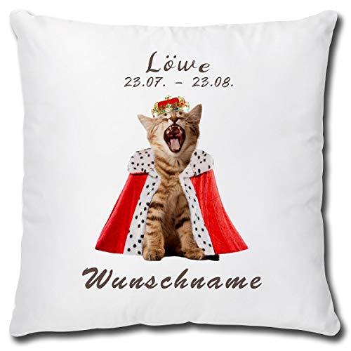 TRIOSK kussen kattenmotief met naam gepersonaliseerd sterrenbeeld leeuw decoratief kussen kat grappig geschenk voor kattenliefhebbers vrouwen meisjes kinderen 40x40 wit bont