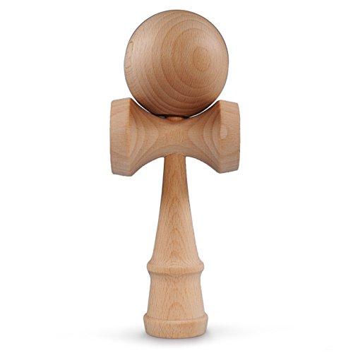 Ganzoo Kendama de madera de haya real, original de Japón - Juguetes de madera tradicionales para una destreza y coordinación efectivas, bola y taza portátiles Madera limpia