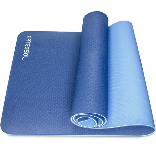 arteesol Yoga Mat, Non-Slip 6mm Thick Large Fitness Mat, Anti-Tear Eco Friendly Exercise Mat with Carry Straps, Premium for Pilates, Fitness, Women & Men 183cm x 61cm x 6mm
