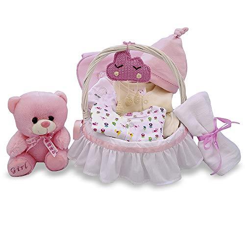 Cesta regalo para bebé recién nacido niña blanco y rosa artesanal canastilla de mimbre con asa para almacenaje de pañales y biberón con set de ropa muselina peluche body y amigurumi