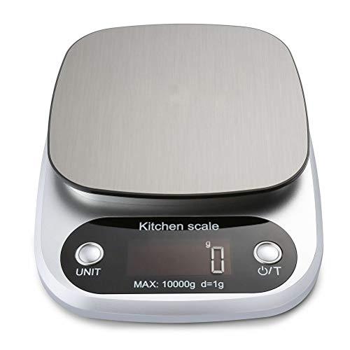 Kousa Báscula electrónica de cocina 1 10kg/1g de cocina doméstica de acero inoxidable con función de tara