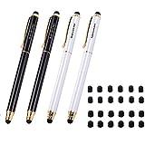 iDream365 - Pennino capacitivo universale 3 in 1, per tutti gli smartphone, tablet PC+24 punte in gomma (confezione da 4), 2 nero/oro, 2 bianco perla