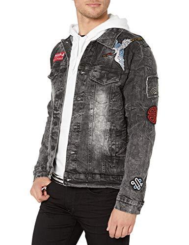 Southpole Men's Aian Utility Premium Fashion Denim Jacket, Blacksand Wave, Small