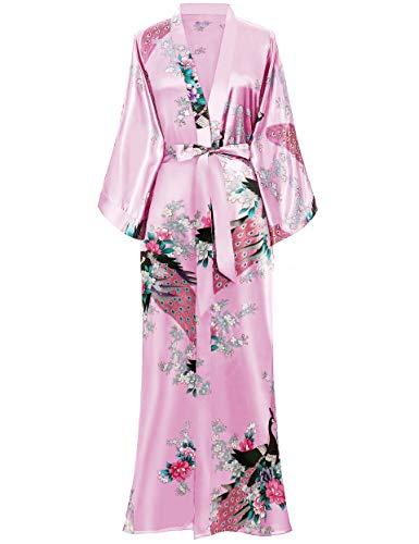 BABEYOND Damen Morgenmantel Maxi Lang Seide Satin Kimono Kleid Pfau Muster Kimono Bademantel Damen Lange Robe Schlafmantel Girl Pajama Party (Baby Pink)