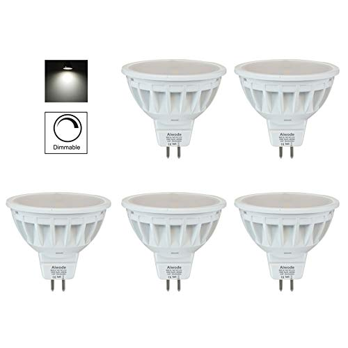 Aiwode 5W Dimmbar MR16 LED Lampe Gu5.3 Scheinwerfer,Naturweiß 4000K Ersetzt 50W,500LM RA85 DC12V,5er Pack.