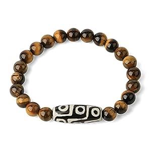 BYUK Perlenarmband,Tibetischer Buddhismus Natürliche Tigerauge Edelsteinperlen Dzi Achat Armband Neunäugiges Gebet Religion Armreif Zierliches Geschenk Für Männer Frauen