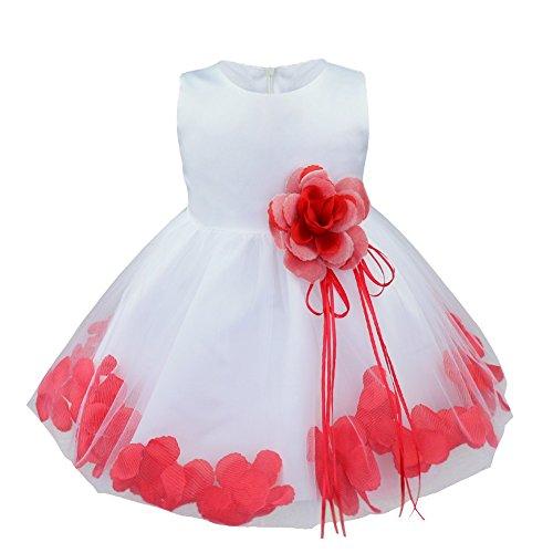 iiniim Bébé Fille Robe de Cérémonie Baptême Courte Robe de Danse Classique sans Manches 3D Pétales Broche Robe de Princesse Fêtê Taille Haute 3-24 Mois Rouge 6-9 Mois