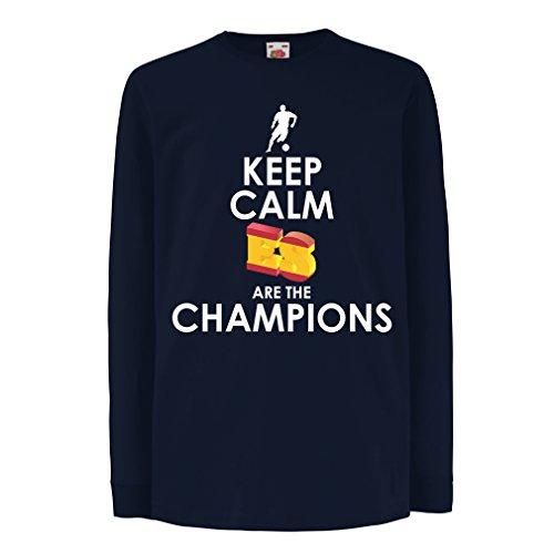 lepni.me Niños/Niñas Camiseta Españoles Son los campeones, Campeonato de Rusia 2018, Copa del Mundo - Equipo del fútbol de Camisa del admirador de España (9-11 Years Azul Multicolor)