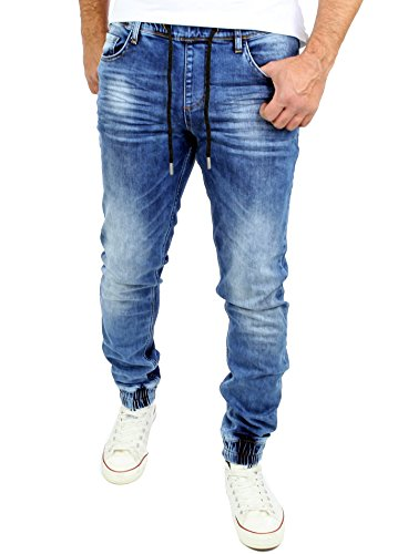 Reslad Jogging Jeans Used Look Jeans-Herren Slim Fit Jogging-Hose Jogger RS-2073 Blau M