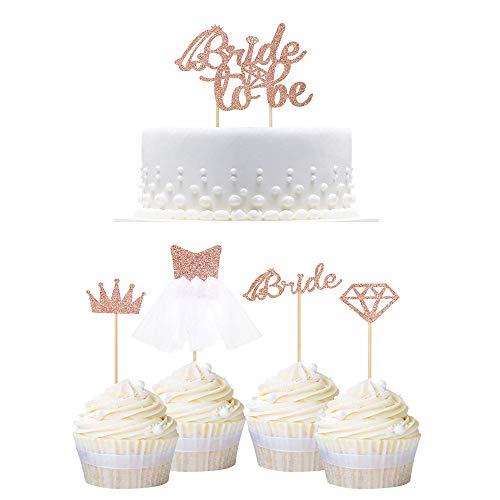 YGSAT 29 Glitter Bride Cupcake Topper Brautkleid Cupcake Topper für Hochzeit Engagement Bridal Shower Dekorationen Sein Hochzeit Jahrestag Torte Kuchen Decoration