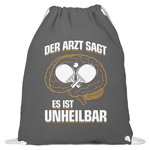 shirt-o-magic Tischtennis: Es ist unheilbar - Baumwoll Gymsac -37cm-46cm-Grafit Grau