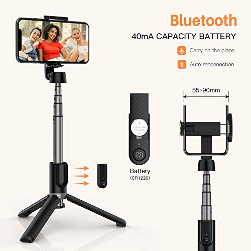 Yoozon Selfie Stick Tripod Bluetooth, Extendable Phone Tripod Selfie Stick with Wireless Remote Shutter for iPhone SE 2/11/11 Pro/11 Pro Max/Xs MAX/XR/XS/X, Galaxy S20/Note 10/S10/S9, Google and More