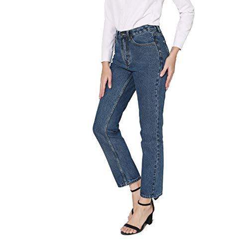 Women's Straight Leg Jeans High Rise 90s Vintage Mom Jean Boyfriend Denim Pants (US 10-S, Dark Denim) Massachusetts