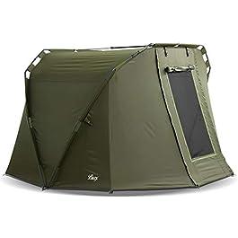 Lucx® Caracal Tente 1 à 2 personnes, 295 x 290 x 165 cm, colonne d'eau 10 000 mm, pour la pêche, le bivouac ou le…