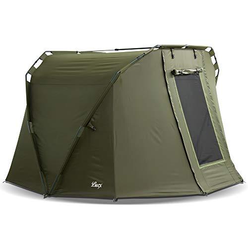 Lucx® Caracal Angelzelt 1 bis 2 Mann Bivvy 2 Personen Karpfenzelt Carp Dome Anglerzelt 295x290x165cm 10.000mm Wassersäule Campingzelt