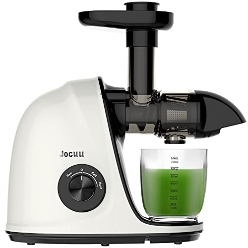 Juicer Machines, Jocuu Slow Masticating Juicer Extractor, Cold Press Juicer Easy to Clean, for Vegetables and Fruits, Two Speed Modes, Reverse Function, Quiet Motor, with Brush and Recipes, White