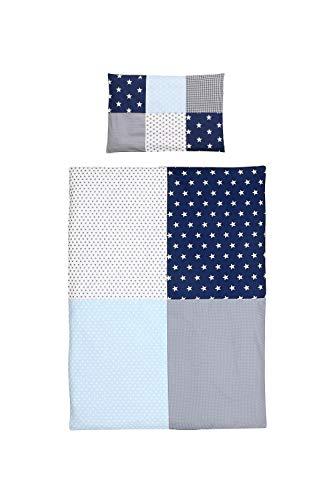 junto de ropa de cama para niño de ULLENBOOM ® azul claro azul gris (juego de 2 piezas: funda de almohada con patchwork y funda nórdica)