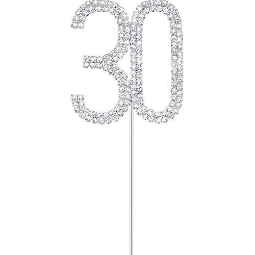 Topper de Tarta de Diamantes de Imitación Adornos de Tarta Plateados de 30 Toppers de Tarta para Fiesta Boda Cumpleaños Aniversario