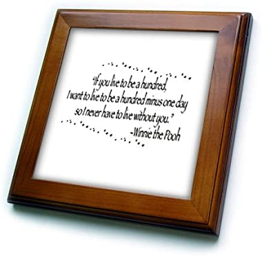 3dRose ft_163982_1 If You Live to Be a Hundred I Want to Live to Be a Hundred Minus a Day Framed Tile, 8 by 8-Inch