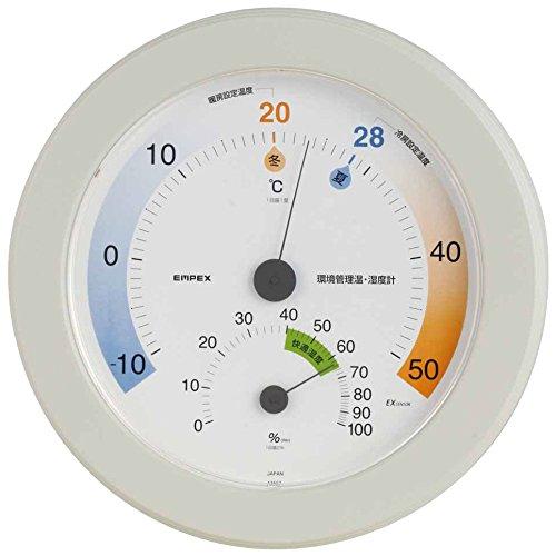 エンペックス気象計 温度湿度計 環境管理温湿度計 【省エネさん】 壁掛け用 日本製 ホワイト TM-2771