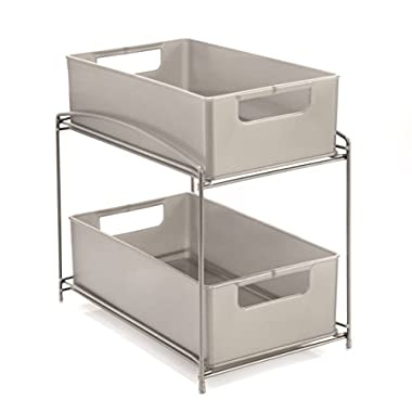 Seville Classics 2-Tier Pull-Out Sliding Drawer Kitchen Counter Organizer, Satin Pewter