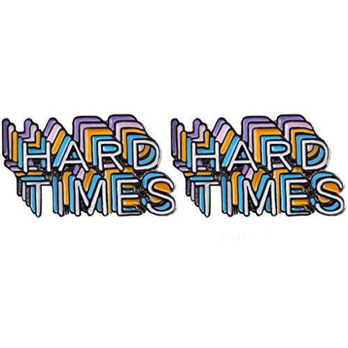 Charmart Hard Times Lapel Pins 2 Piece Set Inspirational Letter Enamel Brooch Pin Never Give up Badge Inspiration Gifts