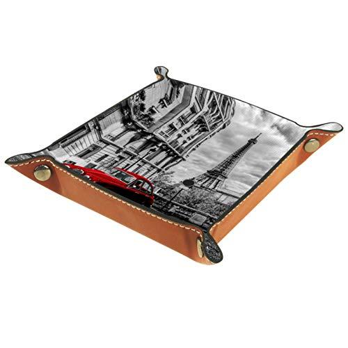 LynnsGraceland Bandeja de Cuero - Organizador - París Coche Rojo Torre Eiffel - Práctica Caja de Almacenamiento para Carteras,Relojes,Llaves,Monedas,Teléfonos Celulares y Equipos de Oficina