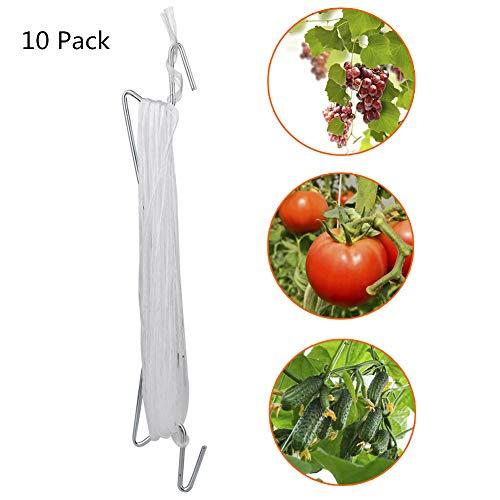 JYCRA 10 Stück Tomatenstütz-Haken, flexible Tomaten- und Weinpflanzen-Rankhilfe mit 10 m langem Seil für Garten, Blumen, Gemüse