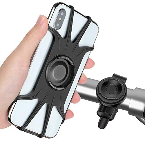 Detachable Bike Phone Mount, 360° Rotatable Bicycle & Motorcycle Handlebar Cell Phone Holder Universal fit for iPhone Xs Max XR X 6S 6 7 8 Plus, Galaxy S9 S10 S10e Note 9, Other 4-6.5' Phones Cycling