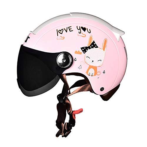 ABDOMINAL WHEEL Medio Casco Abierto,Medio Casco de Motocicleta Retro con Lente Parasol de Alta Definición,Medio Casco de Dibujos Animados, Universal en Todas Las Estaciones Casco K,XL=61~62cm
