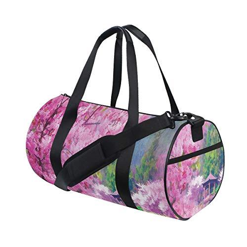 HARXISE Sporttasche Reisetasche,Landschaft mit Sakura Flower Distant Mountain Japanischer Pavillon Wald,Schultergurt Handgepäck für Übernachtung Reisen