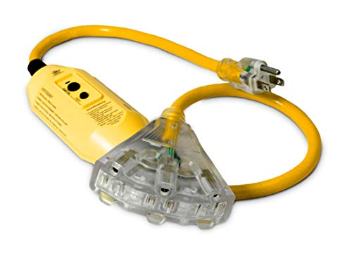 3-ft GFCI 12/3 Heavy Duty 3-Outlet SJTW Indoor/Outdoor Extension Cord by Watt's Wire - Short Yellow 3' 12-Gauge Grounded 15-Amp Three-Prong GFI Power-Cord (3 foot 12-Awg GFCI)
